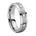 Tungsten Wedding Band with Three CZ's and Beveled Edges - JTG0024