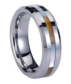 Beveled Tungsten Ring with Shell Inlay - JTG0033