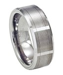 Tungsten Vertical Faceted Satin-Finish Ring with Beveled Edges | 8mm - JTG0045