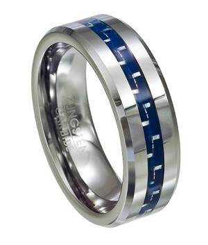 Tungsten and Blue Carbon Fiber Polished-Finish Wedding Ring with Beveled Edge | 8mm - JTG0054