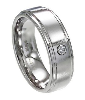 Men's White Tungsten Wedding Ring with Single CZ and Polished Edges | 8mm - JTG0063
