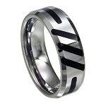 Tungsten Ring With Black Enamel Slashes - JTG0067