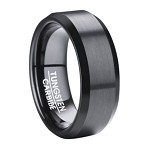 Black Tungsten Ring for Men with Flat Profile and Beveled Edges | 8mm