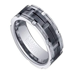 Tungsten Ring for Men with Grooved Black Ceramic Inlay | 8mm