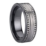 Men's Black Ceramic Ring With Brushed Finish Tungsten Inlay | 7mm