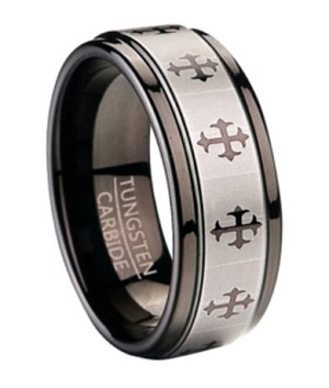 Fashion Ring for Men in Black Tungsten with Crosses | 9mm
