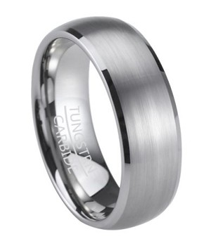 Tungsten Men's Wedding Band with Satin Finish Oval Profile | 8mm