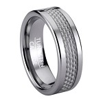 Tungsten Men's Fashion Ring with White Carbon Fiber Inlay | 8mm
