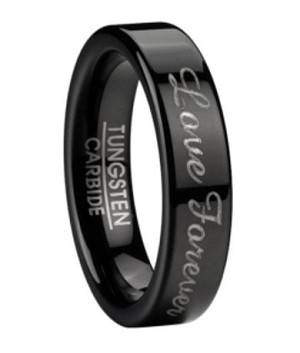 Black Tungsten Men's Wedding Ring with Love Forever Script | 6mm