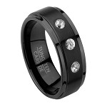 Contemporary Men's Ring in Black Tungsten with Three CZ | 8mm