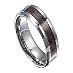 Men's Tungsten Ring with Black and Red Carbon Fiber Inlay | 8mm