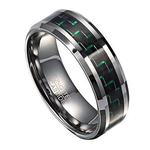 Men's Fashion Ring in Tungsten with Green Carbon Fiber Inlay, 8mm