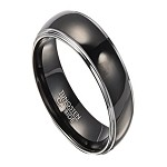 Tungsten Wedding Band for Men with Polished Black IP Center | 8mm