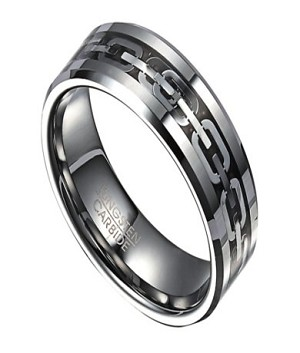 8mm Tungsten Ring for Men with Stainless Steel Chain Inlay