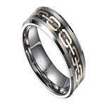 Three Tone Men's Tungsten Ring with Center Chain Design | 8mm