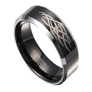 8mm Men's Black Tungsten Ring with Abstract Flame Design