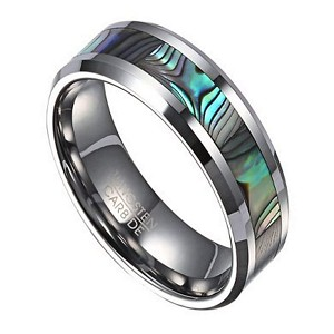 Men's Fashion Ring in Tungsten with Abalone Shell Inlay | 8mm