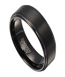 Contemporary Black Tungsten Men's Ring with Polished Edges | 8mm