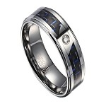 Tungsten Men's Ring with Black and Blue Carbon Fiber and CZ | 8mm