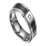 Tungsten and CZ Ring for Men with Black Carbon Fiber Inlay | 8mm