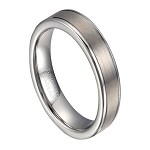 Satin Finish Men's Tungsten Wedding Ring, Polished Edges | 6mm