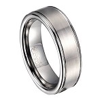 Brushed Finish Tungsten Wedding Band for Men, Rounded Edges | 8mm