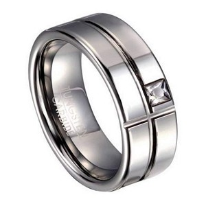 Men's Tungsten Ring with Intersecting Grooves and White CZ | 8mm