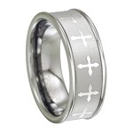 Tungsten Wedding Ring for Men with Lasered Cross Design | 8mm