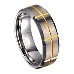 Men's Tungsten Ring With Gold Tone Groove Pattern | 8mm