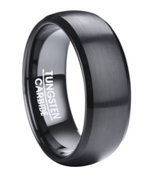 Black Tungsten Ring for Men with Classic Domed Profile | 8mm