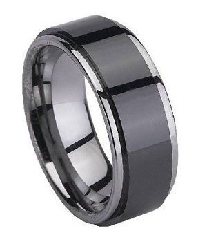 Tungsten Black Ceramic-Coated Ring with Polished Edges | 8mm - JTGC0044