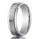 Palladium Wedding Ring with Spun Satin Finish and Raised Edges | 4mm - JB1159