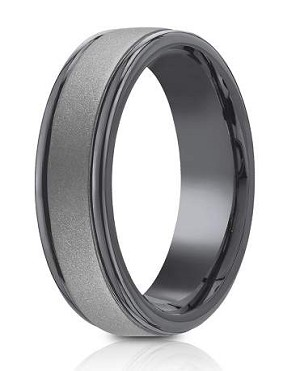 Tantalum 7mm Powder Coated Finish High Polish Round Edge Design Ring