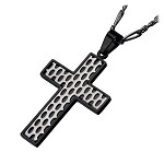 Men's Stainless Steel IP Black Car Grille Cross Polished Pendant