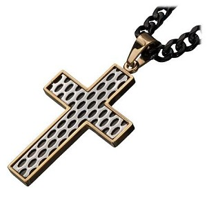 Men's Stainless Steel Gold IP Car Grille Polished Cross Pendant