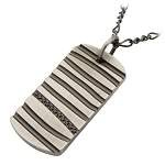 Men's Stainless Steel Gunmetal Finished Pendant with Grooves and Row of Black CZ's