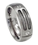 Double Cable Men's Titanium Ring - JT0126