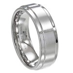 Men's White Tungsten Ring with Flat Satin Finish and Polished Edges