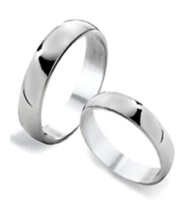 Sterling Silver Wedding Bands.His And Hers Classic Sterling Silver Wedding Rings 4mm