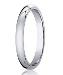 Designer 3 mm Domed Comfort-fit 10K White Gold Wedding Band - JB1007