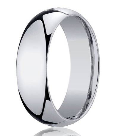 Designer 7 mm Domed Comfort-fit 10K White Gold Wedding Band - JB1011