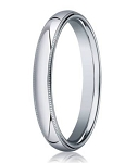 Designer 3 mm Domed Milgrain Polished Finish with Comfort-fit 10K White Gold Wedding Band - JB1047