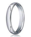 Designer 4 mm Domed Milgrain Polished Finish with Comfort-fit 10K White Gold Wedding Band - JB1048