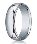 Designer 8 mm Domed Milgrain Polished Finish with Comfort-fit 10K White Gold Wedding Band - JB1052