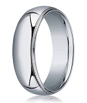 Designer 6 mm Domed Milgrain Polished Finish with Comfort-fit 10K White Gold Wedding Band - JB1050