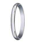 Designer 3 mm Traditional Fit Milgrain 10K White Gold Wedding Band - JB1063
