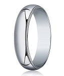 Designer 5 mm Traditional Fit Milgrain 10K White Gold Wedding Band - JB1096