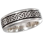 Men's Silver Antiqued Celtic Knot Spinner Band - JP1813