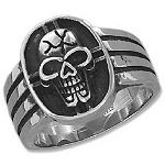 Stainless Steel Cracked Skull Ring - JP3084
