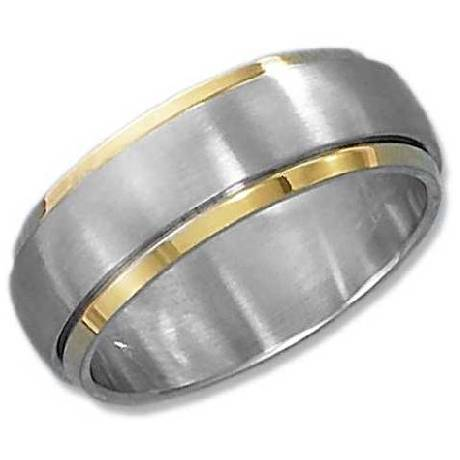 Silicone Ring With Diamond >> Gold Plated Brushed Spinner Ring: Just Men's Rings